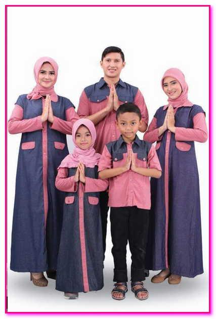baju muslim couple bahan denim keluarga