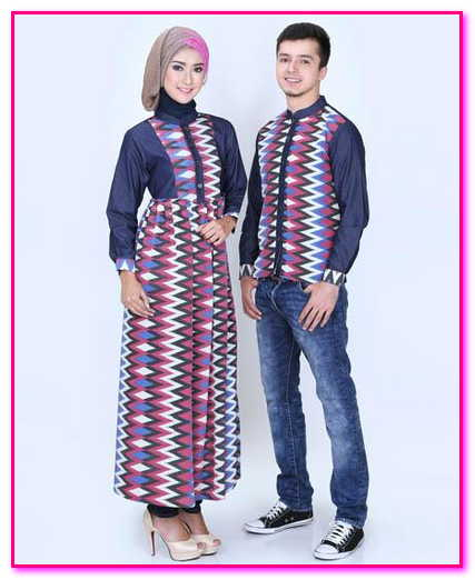 baju muslim couple bahan denim kondangan