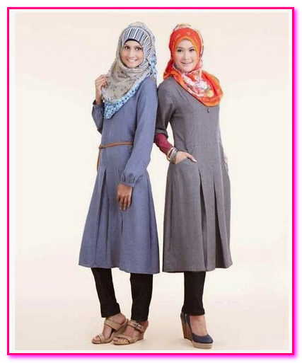 baju muslim couple bahan denim remaja