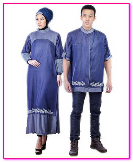 baju muslim couple bahan denim