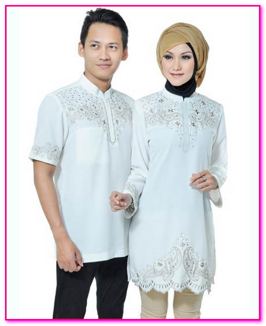 baju muslim couple warna putih