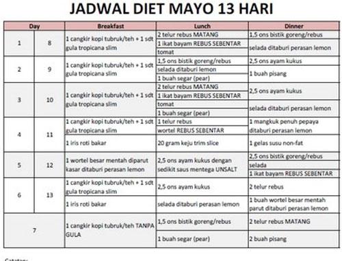 Jadwal Cara Diet Mayo